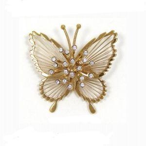 [Monet] Gold Tone Rhinestone Butterfly Pin Brooch